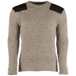 Woolly Pully Military Nato Knitwear - Heather Brown Mix