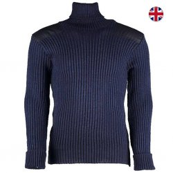 Woolly Pully Roll Neck Sweater 100% Wool - Navy Blue