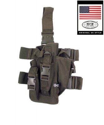 Tactical Holster, OD green, leg- and belt fixing