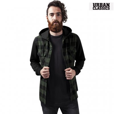 Urban Classics Flanell Hoodie - Black/Forest